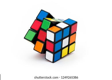 ISTANBUL - TURKEY - DECEMBER 4, 2018: Rubik's cube on the white background. Rubik's Cube invented by a Hungarian architect Erno Rubik in 1974.
