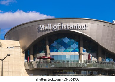 Istanbul, Turkey - December 5, 2016: Exterior view of Mall of Istanbul or MOI, Turkey's largest shopping mall and complex opened May 2014 in Basaksehir, Istanbul.