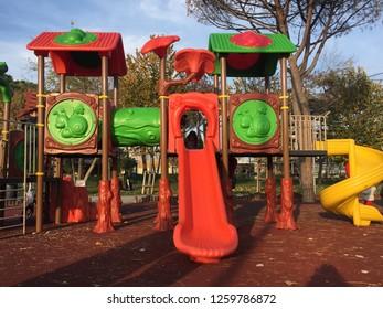 ISTANBUL, TURKEY- DECEMBER 8: Children's playground at public park in Istanbul. 8, 2018 in Istanbul, Turkey.