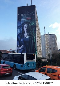 ISTANBUL, TURKEY- DECEMBER 8: The first Turkish series of Netflix, The Protector, was advertised on the facades of Istanbul. December 8, 2018 in Istanbul, Turkey.