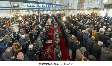 ISTANBUL, TURKEY - DECEMBER 8: Undefined Muslims gathered for Friday prayer in Fatih Mosque on December 8, 2017 in Istanbul, Turkey. Prayer is a prayer that Muslims do five times each day.
