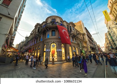 Istanbul, Turkey: Exterior view of Cicek Pasaji (Flower Passage or Cite de Pera) a famous historic passage, situated on Istiklal Avenue, Beyoglu. On April 26, 2018