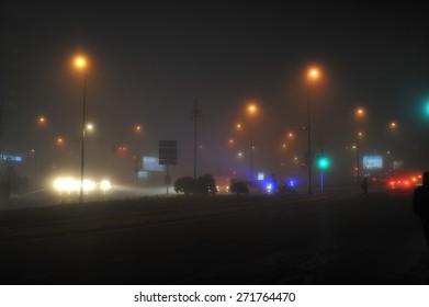ISTANBUL, TURKEY - FEB  02 :  Heavy fog caused traffic congestion late on the day  on February  02, 2014 in Istanbul, Turkey