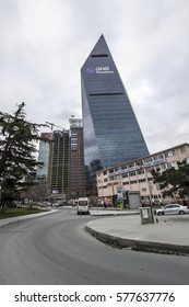 Istanbul, Turkey - Feb 11, 2017: The futuristic skyscraper, headquarters building of Finansbank in 4th Levent Distric of Istanbul.