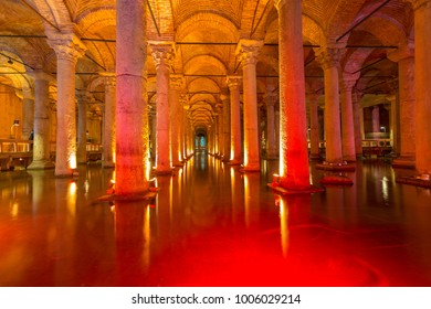 ISTANBUL, TURKEY -FEB 2, 2013: Underground water storage Yerebatan Sarayi (Basilica Cistern), the largest ancient cisterns that lie beneath the city of Istanbul (formerly Constantinople), Turkey.