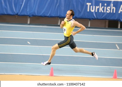 ISTANBUL, TURKEY - FEBRUARY 03, 2018: Undefined athlete running during Turkcell Turkish Indoor Athletics Championships
