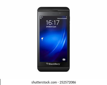 Istanbul, Turkey - February 04, 2015: Studio shot of BlackBerry Z10 smart phone showing the home screen.The BlackBerry Z10 is a high-end 4G touchscreen-based smartphone developed by BlackBerry.
