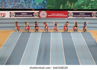 ISTANBUL, TURKEY - FEBRUARY 09, 2020: Athletes running 60 metres during Balkan U20 Athletics Indoor Championships