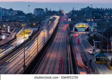 Istanbul, Turkey - February 1, 2018; Eurasia Tunnel (Avrasya Tuneli) or Istanbul Bosphorus Highway Tube Transition Project. Is a tunnel that links Asian and European. Tunnel opened 20th December 2016.