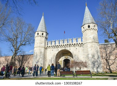ISTANBUL, TURKEY - FEBRUARY 1, 2019: Entrance of the Topkapi palace (The gate of Salutation). Tourists people are visiting the Topkapi palace.