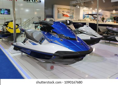 ISTANBUL, TURKEY - FEBRUARY 10, 2018: Yamaha WaveRunner on display at CNR Eurasia Boat Show in CNR Expo Center