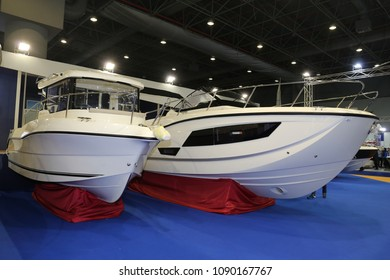 ISTANBUL, TURKEY - FEBRUARY 10, 2018: Quicksilver Boats on display at CNR Eurasia Boat Show in CNR Expo Center