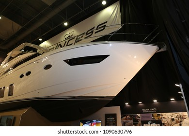 ISTANBUL, TURKEY - FEBRUARY 10, 2018: Princess 68 Yacht on display at CNR Eurasia Boat Show in CNR Expo Center