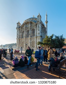 ISTANBUL, TURKEY - FEBRUARY 10, 2019: Ortakoy Mosque (Buyuk Mecidiye Cami) in Istanbul, Turkey.