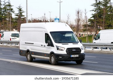 Istanbul, Turkey - February 11, 2021: White cargo van Ford Transit in the city street.