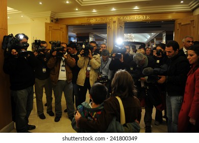 ISTANBUL, TURKEY  - FEBRUARY 11: Bill Clinton attends the Sinpas  Initiative Meeting  Journalists are asking the children participating in the conference  on February 11, 2009 in Istanbul, Turkey.