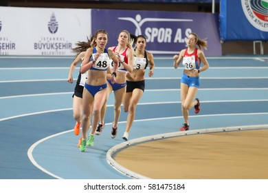 ISTANBUL, TURKEY - FEBRUARY 12, 2017: Athletes running during Balkan Junior Indoor Championships