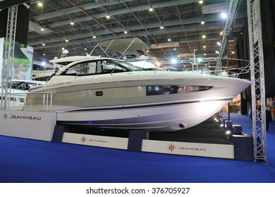 ISTANBUL, TURKEY - FEBRUARY 13, 2016: Jeanneau Leader 36 boat on display at 9th CNR Eurasia Boat Show in CNR Expo Center
