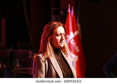 Istanbul / TURKEY - February 13, 2017: 50th year anniversary of Confederation of Progressive Trade Unions of Turkey, D?SK's secretary general, Arzu Çerkezo?lu making a speech.