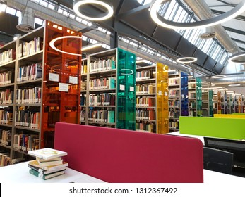 Istanbul / Turkey - February 13, 2019 ; library concept for university or school. books ,table ,chair in the library.