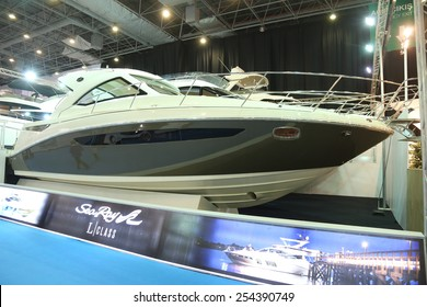 ISTANBUL, TURKEY - FEBRUARY 14, 2015: Sea Ray L motoryacht in 8. CNR Eurasia Boat Show, CNR Expo