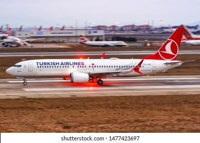 Istanbul, Turkey – February 15, 2019: Turkish Airlines Boeing 737-8 MAX airplane at Istanbul Atatürk airport (IST) in Turkey.