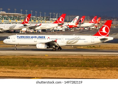 Istanbul, Turkey – February 15, 2019: Turkish Airlines Airbus A321 airplane at Istanbul Ataturk Airport (IST) in Turkey.