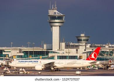 Istanbul, Turkey – February 15, 2019: Turkish Airlines Boeing 777 airplane at Istanbul Ataturk Airport (IST) in Turkey.