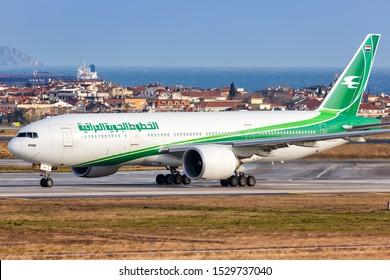 Istanbul, Turkey – February 15, 2019: Iraqi Airways Boeing 777 airplane at Istanbul Ataturk Airport (IST) in Turkey.