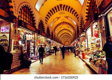 Istanbul, Turkey - February 15 2020: Egyptian Bazaar