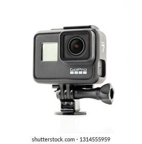 Istanbul, Turkey - February 16, 2019: GoPro HERO 7 Black product front and side view. The action camera with new feature fuctions hypersmooth, Live stream, TimeWarp and SuperPhoto. - Image