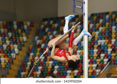 ISTANBUL, TURKEY - FEBRUARY 16, 2019: Undefined athlete pole vaulting during Balkan Athletics Indoor Championships