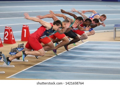 ISTANBUL, TURKEY - FEBRUARY 16, 2019: Athletes running 60 metres during Balkan Athletics Indoor Championships