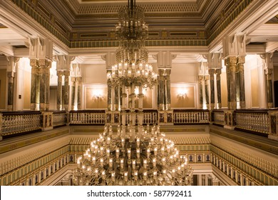 Istanbul, Turkey - February 17, 2017: Ciragan Palace in Istanbul, Turkey, Ciragan Palace Bosphorus, a former Ottoman palace, is now a five-star hotel in the Kempinski Hotels chain