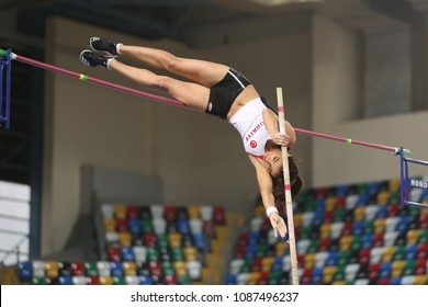 ISTANBUL, TURKEY - FEBRUARY 17, 2018: Undefined athlete pole vaulting during Balkan Athletics Indoor Championships