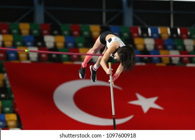 ISTANBUL, TURKEY - FEBRUARY 18, 2018: Undefined athlete pole vaulting during Istanbul Cup Indoor Athletics