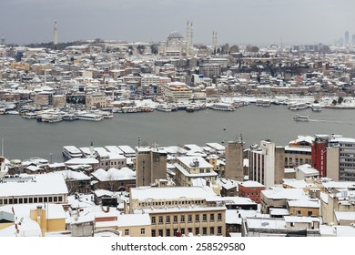 ISTANBUL, TURKEY - FEBRUARY 19, 2015: istanbul winter a day.A view on the Bosphorus and winter Istanbul from Galata Tower