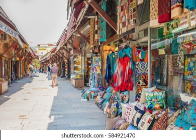ISTANBUL, TURKEY - FEBRUARY 19, 2017: Arasta Bazaar. The Arasta Bazaar is a tidy market street in the heart of Sultanahmet's historical district. Sultanahmet, Istanbul, Turkey.