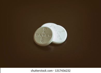 ISTANBUL, TURKEY, FEBRUARY 19, 2019: Aspirin tablets, known as acetylsalicylic acid (ASA), is a medication used to treat pain, fever, or inflammation.