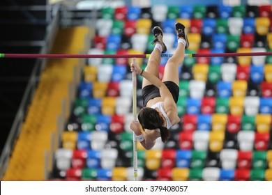 ISTANBUL, TURKEY - FEBRUARY 20, 2016: Athlete Merve Baskaya pole vaulting during Turkcell Turkish Indoor Athletics Championships