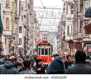 Istanbul, Turkey - February 2015: Taksim Istiklal Street. Istanbul, Turkey