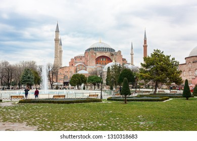 Istanbul, Turkey. February, 2019. Aya-Sophia mosque. Cityscape. Travels. Ancient history and architecture.