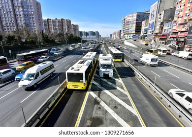 ISTANBUL, TURKEY, February 2019; Metrobus, a part of public transportation system, eases the traffic in Istanbul. Istanbul public transport,  vehicle called Metrobus goes own way with non traffic.