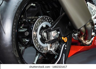 Istanbul, Turkey / February 2020 Motorcycle rear rubber caliper and disc kit.