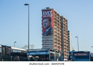 ISTANBUL, TURKEY - FEBRUARY 21, 2017: The banner for the presidential referendum to be held in Turkey. Photograph of Turkish president Recep Tayyip Erdogan on in Istanbul, Turkey