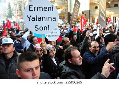 ISTANBUL, TURKEY - FEBRUARY 21:  Turkish and Azeri citizen protest Khojaly (Hocali) genocide in Taksim Square on February 21, 2012 in Istanbul, Turkey.