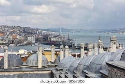 ISTANBUL, TURKEY - FEBRUARY 22, 2016: Panoramic view of Istanbul, Turkey.