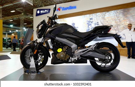 ISTANBUL, TURKEY - FEBRUARY 22, 2018: Bajaj Dominar D400 Motobike exhibited at the fair held in Istanbul Expo Center.