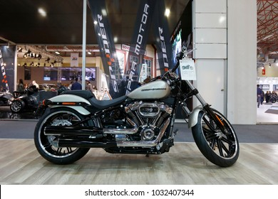 ISTANBUL, TURKEY - FEBRUARY 22, 2018: Harley Davidson 1200 Roadster Motobike exhibited at the fair held in Istanbul Expo Center.