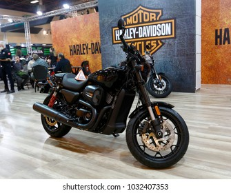 ISTANBUL, TURKEY - FEBRUARY 22, 2018: Harley Davidson 750 Street Road Motobike exhibited at the fair held in Istanbul Expo Center.